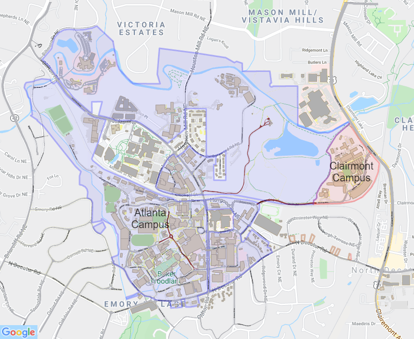 Paris Georgia Map.Emory Interactive Campus Map